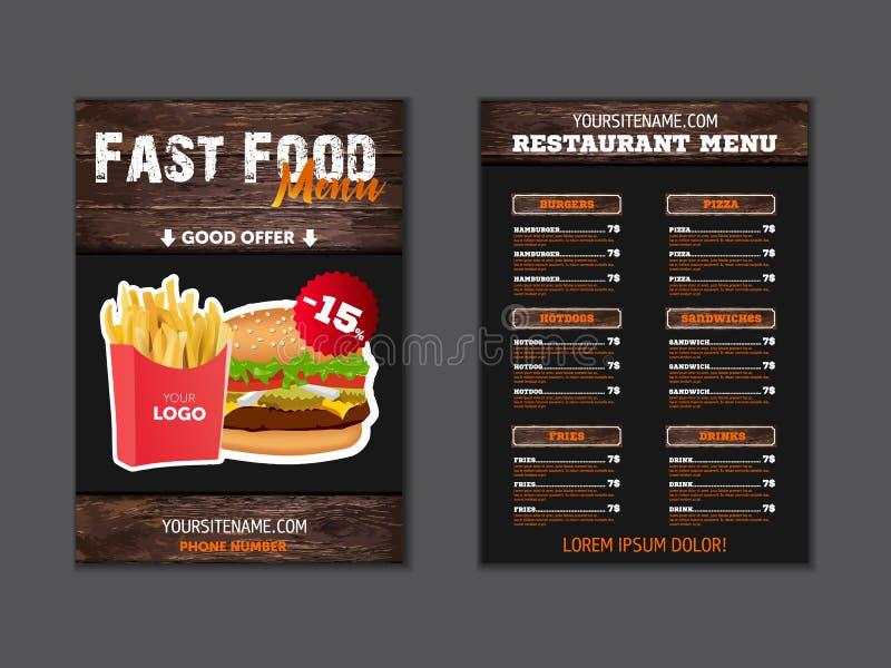 Стильное меню для ресторана фаст-фуда пробел для брошюры или листовка для кафа фаст-фуда в стиле просторной квартиры Шаблон векто иллюстрация штока