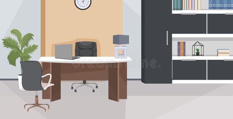 Стильное рабочее место с компьютерным монитором в офисе современная гостиная или шкаф интерьер пусто никто жилье с иллюстрация штока