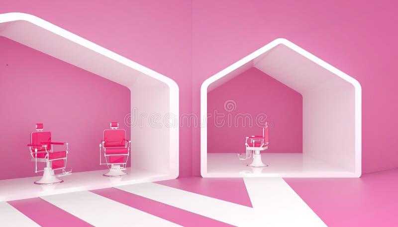 Стильные винтажный пурпур стула парикмахера и сверстница в красных тонах и простой на предпосылке пурпурных стен и новых идей бесплатная иллюстрация