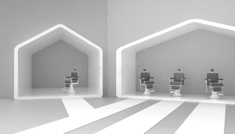 Стильные винтажный серый цвет стула парикмахера и сверстница в красных тонах и простой на предпосылке серых стен и новых идей иллюстрация штока