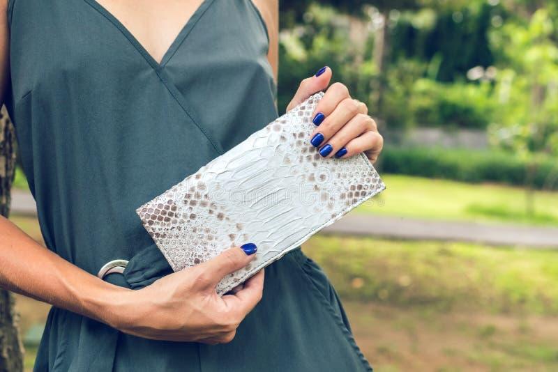Стильные женские руки держа роскошный бумажник питона snakeskin Модные женщины вспомогательные Тропическая предпосылка, Бали стоковая фотография
