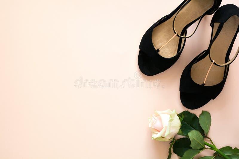 Стильные классические ботинки сандалий кожи ` s чернокожих женщин с высокими пятками на розовой фиолетовой пестротканой бумажной  стоковые изображения