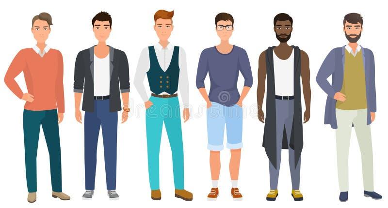 Стильные красивые люди одели в одеждах стиля современной вскользь моды мужских, иллюстрации вектора Вектор шаржа плоский иллюстрация штока