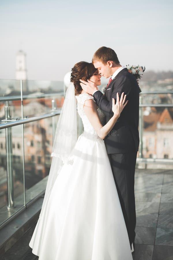 Стильные красивые пары свадьбы целуя и обнимая на панорамном виде предпосылки старого городка стоковое изображение
