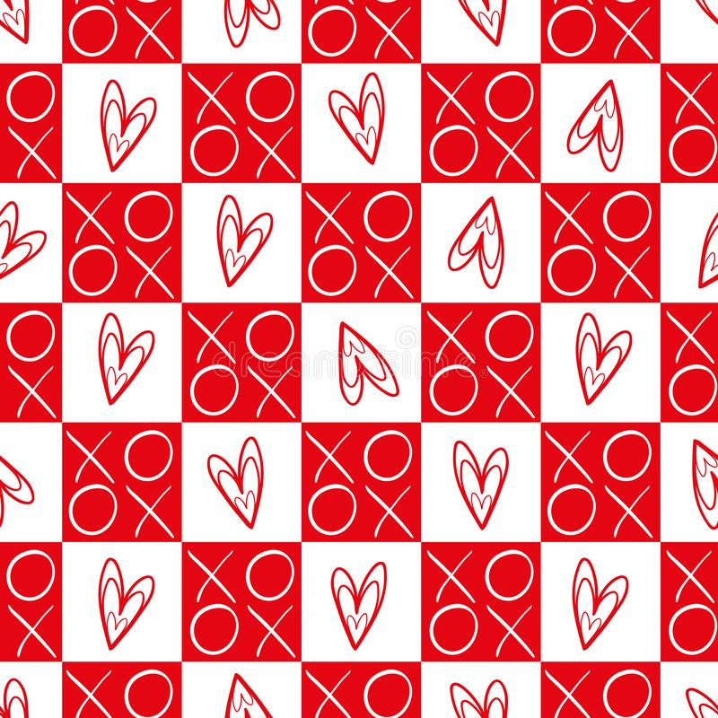 Стильные красные и белые checkered сердца и картина вектора объятий и поцелуев безшовная Большой на день Святого Валентина, свадь иллюстрация вектора