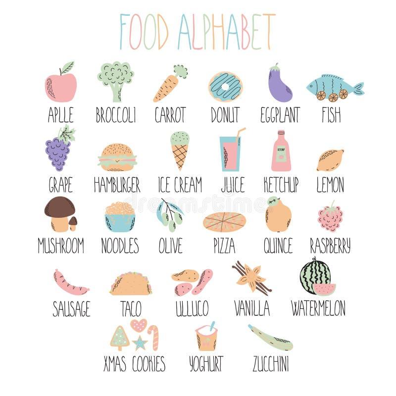 Стильный алфавит еды A к z Алфавит сделанный из овощей, плодоовощей и фаст-фуда еда здоровая иллюстрация вектора