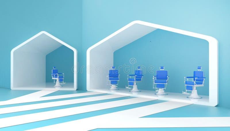 Стильный винтажный стул парикмахера голубой и современный в красных тонах и простой на предпосылке голубых стен и новых идей бесплатная иллюстрация