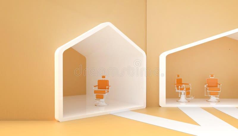 Стильный винтажный стул парикмахера желтый и современный в красных тонах и простой на предпосылке желтых стен и новых идей иллюстрация штока