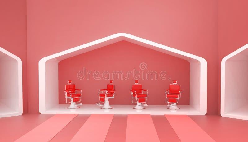 Стильный винтажный стул парикмахера красный и современный в красных тонах и простой на предпосылке красных стен и новых идей бесплатная иллюстрация