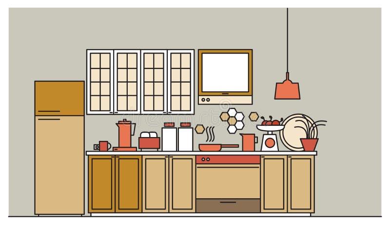 Стильный интерьер современной обеспеченной кухни с кухонными шкафами, электронными приборами, cookware, варя утварями и иллюстрация штока