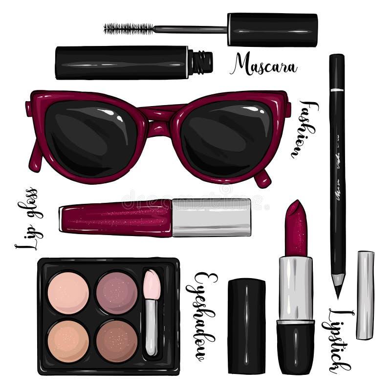 Стильный комплект косметик и аксессуаров Солнечные очки, губная помада, тушь, тень глаза, лоск губы и карандаш Мода & стиль иллюстрация вектора
