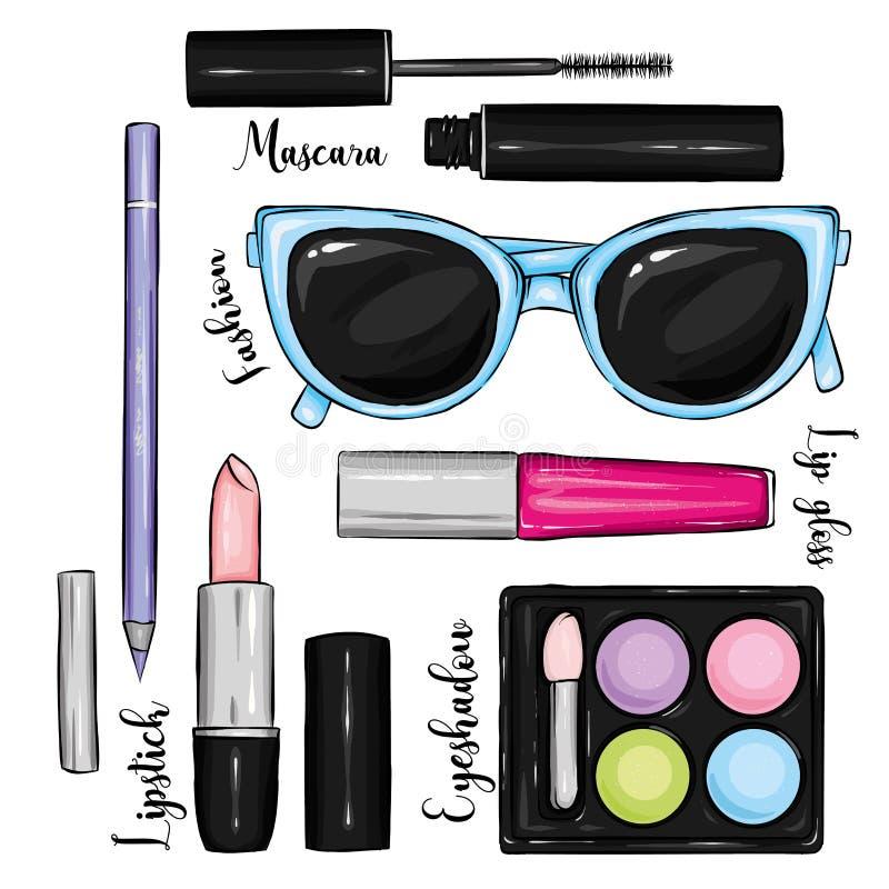 Стильный комплект косметик и аксессуаров Солнечные очки, губная помада, тушь, тень глаза, лоск губы и карандаш Мода & стиль бесплатная иллюстрация