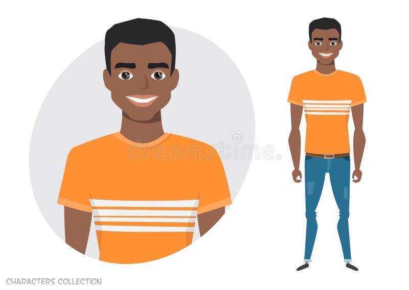 Стильный молодой черный Афро-американский человек в хоботах заплывания пляжа бесплатная иллюстрация