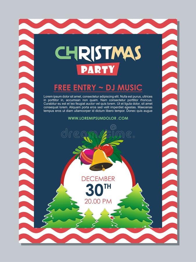 Стильный плакат рождественской вечеринки, дизайн шаблона летчика иллюстрация штока