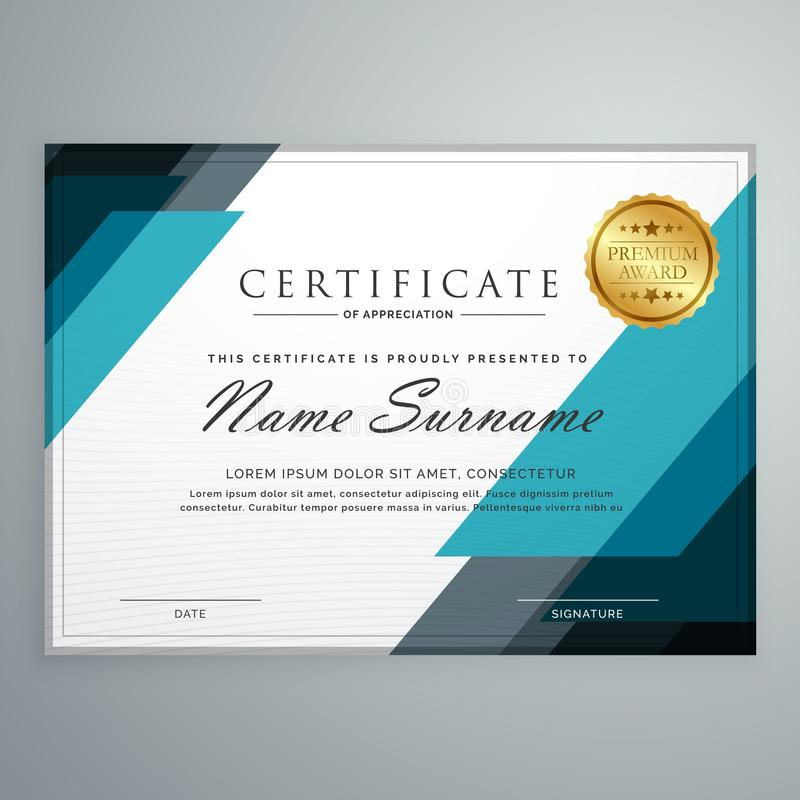 стильный сертификат шаблона дизайна награды благодарности с g иллюстрация штока