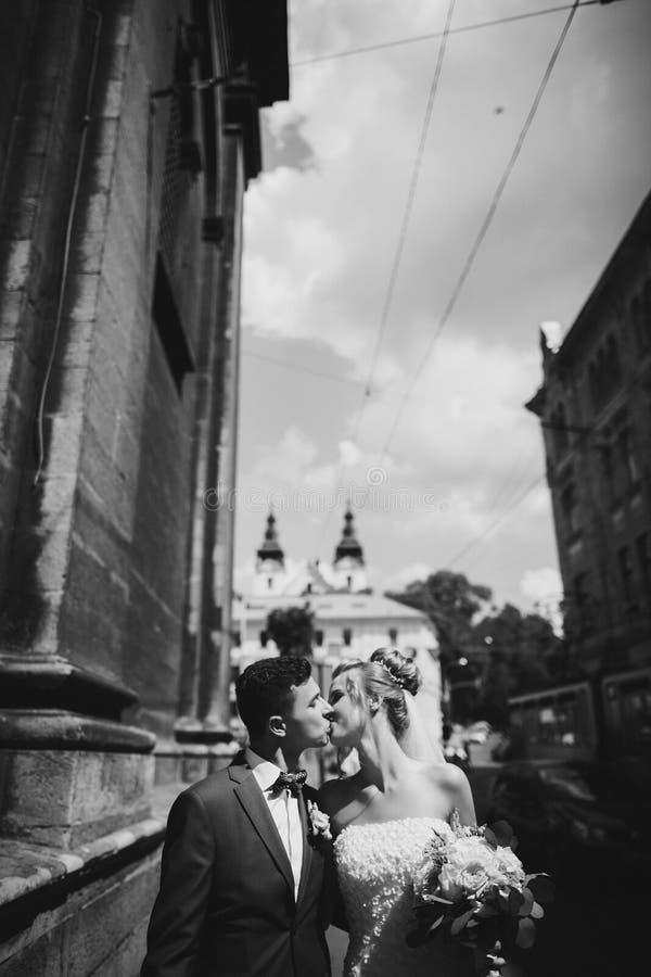 Стильный счастливый жених и невеста идя и целуя в солнечной улице города Шикарные пары свадьбы новобрачных обнимая outdoors стоковая фотография