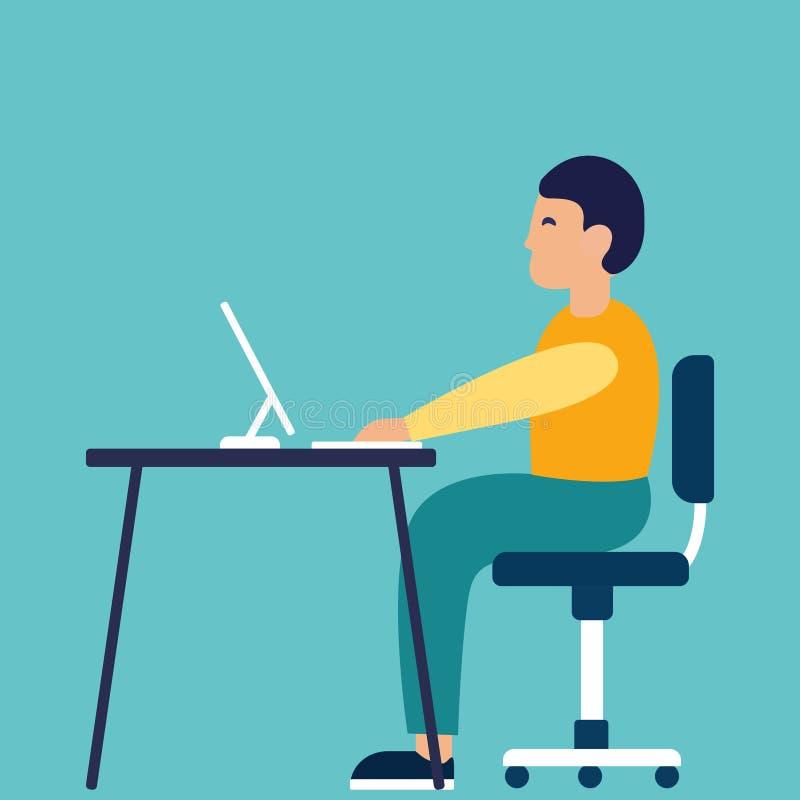 Стильный человек сидя на таблице и работая на тетради Иллюстрация вектора, ультрамодный стиль, плоский дизайн Бизнес иллюстрация вектора