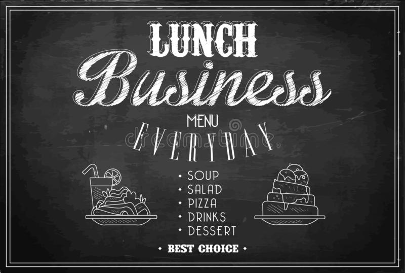 Стильный шаблон меню бизнес-ланча на черной доске Эскиз 2 плит с блюдами и стекла коктейля иллюстрация вектора
