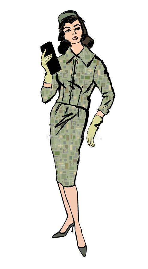 Стильным одетьнный способом тип 1960s 1950s девушки иллюстрация вектора