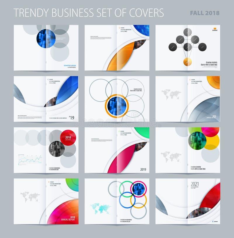 Стиль абстрактного дизайна брошюры двух-страницы круглый с красочными кругами для клеймить Партнерство вектора дела иллюстрация вектора
