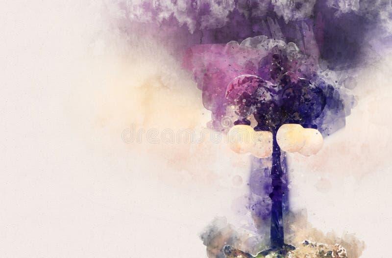 стиль акварели и абстрактное изображение винтажного уличного фонаря бесплатная иллюстрация