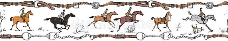 Стиль английского языка всадника лошади конноспортивного спорта Скакать наездники с седловиной иллюстрация вектора