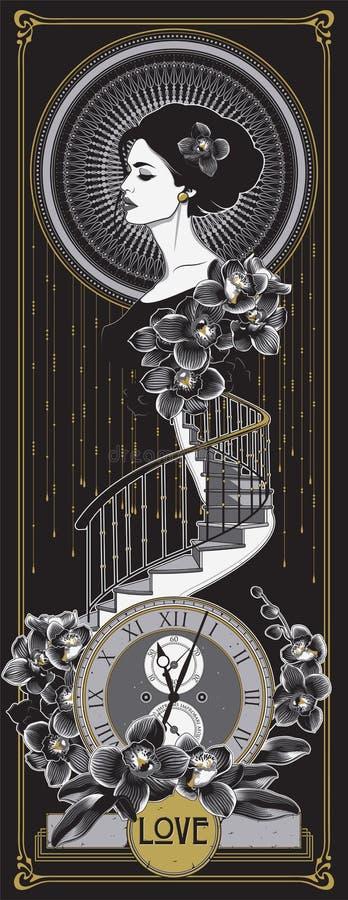 Стиль Арт Деко, плакат стиля Nouveau искусства стоковое изображение rf