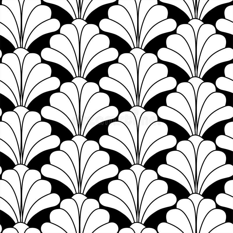 Стиль Арт Деко Gatsby вводит черно-белую флористическую безшовную картину в моду иллюстрация штока