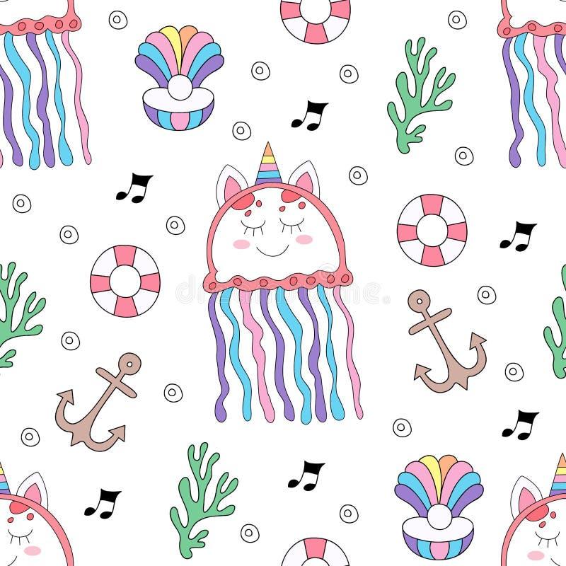 Стиль безшовной руки мультфильма медуз картины милой вычерченный бесплатная иллюстрация