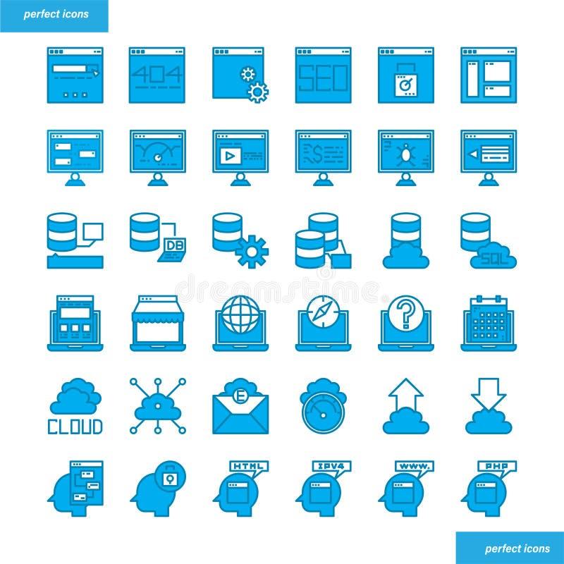 Стиль браузера и интерфейса голубыми установленный значками иллюстрация штока