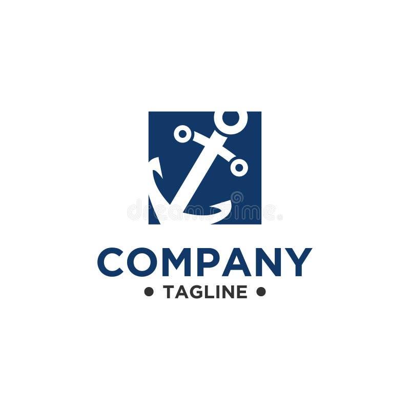 Стиль вектора дизайна логотипа анкера простой иллюстрация штока