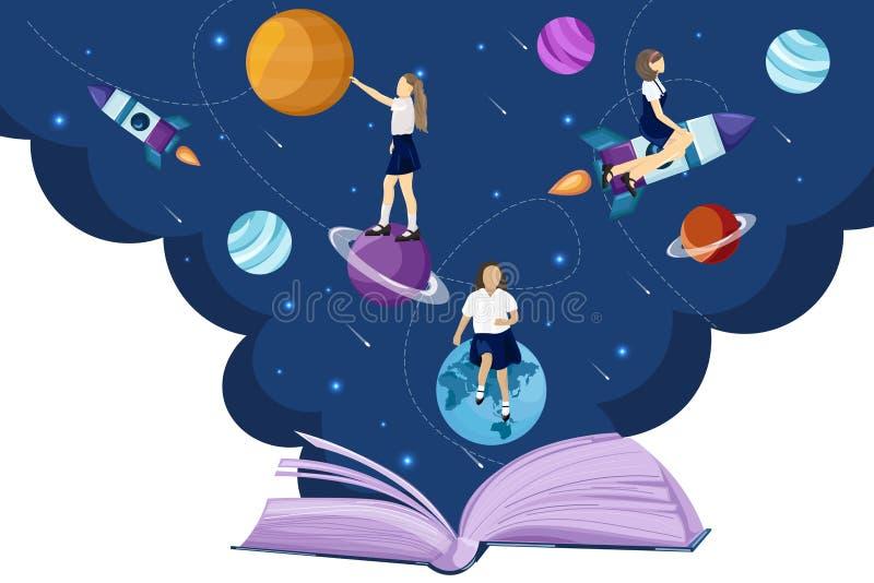 Стиль вектора фантазии открытой вселенной книги читая плоский Концепции чтения образования детей школы творческих способностей иллюстрация вектора