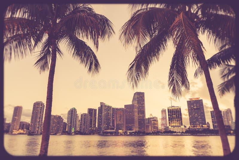 Стиль горизонта Майами Флориды ретро стоковые фото