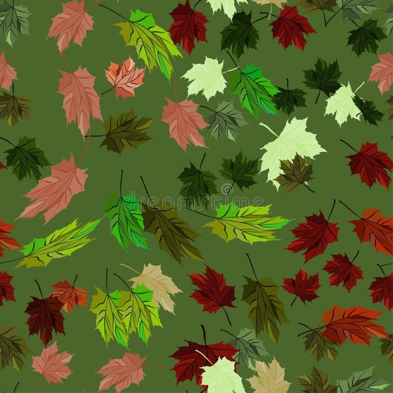 Стиль зеленого цвета осени картины вектора кленовых листов безшовный иллюстрация штока