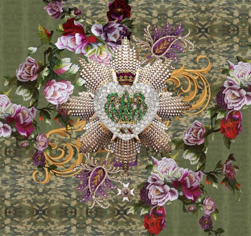 Стиль зеленого цвета элемента цветков вышивки стоковые фотографии rf