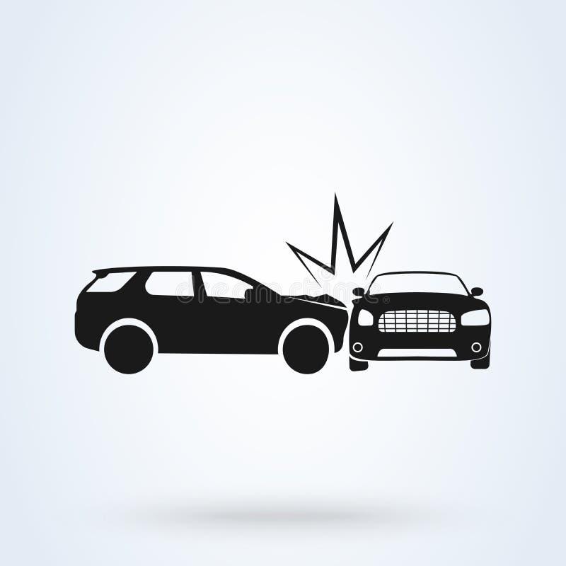 Стиль значка иллюстрации вектора автокатастрофы плоский Взгляд со стороны автомобильной катастрофы иллюстрация вектора