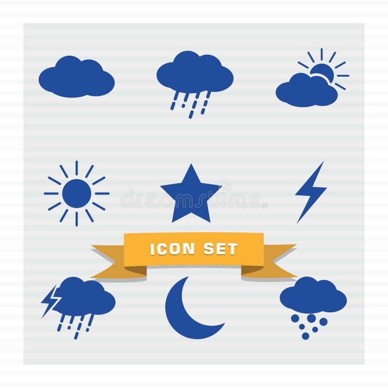 Стиль значка погоды установленный плоский иллюстрация вектора