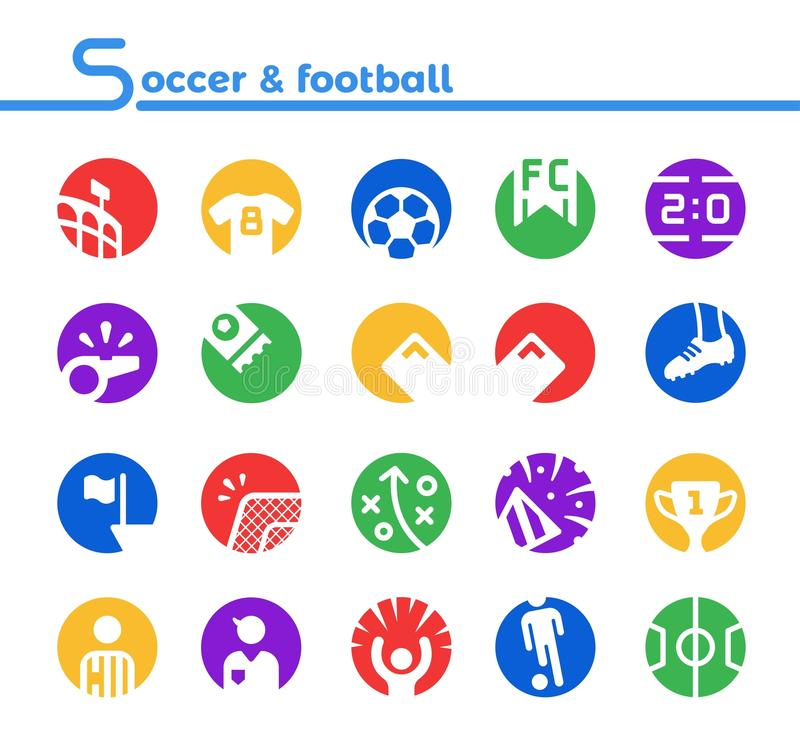 Стиль значка футбола установленный обратный иллюстрация вектора