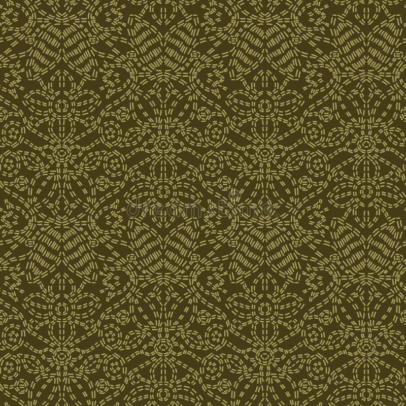 Стиль идущим стежком мотива Пейсли флористических лист Картина вектора викторианского needlework безшовная Foulard boteh стежком  иллюстрация вектора