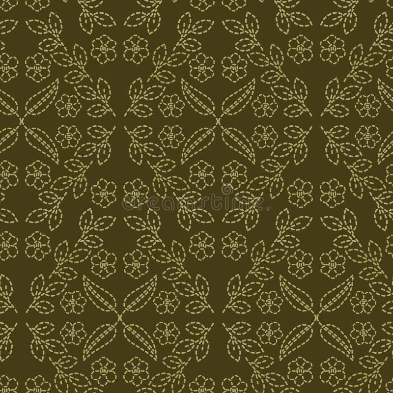 Стиль идущим стежком мотива флористических лист Картина вектора викторианского needlework безшовная Печать ткани парчи стежком ру иллюстрация вектора