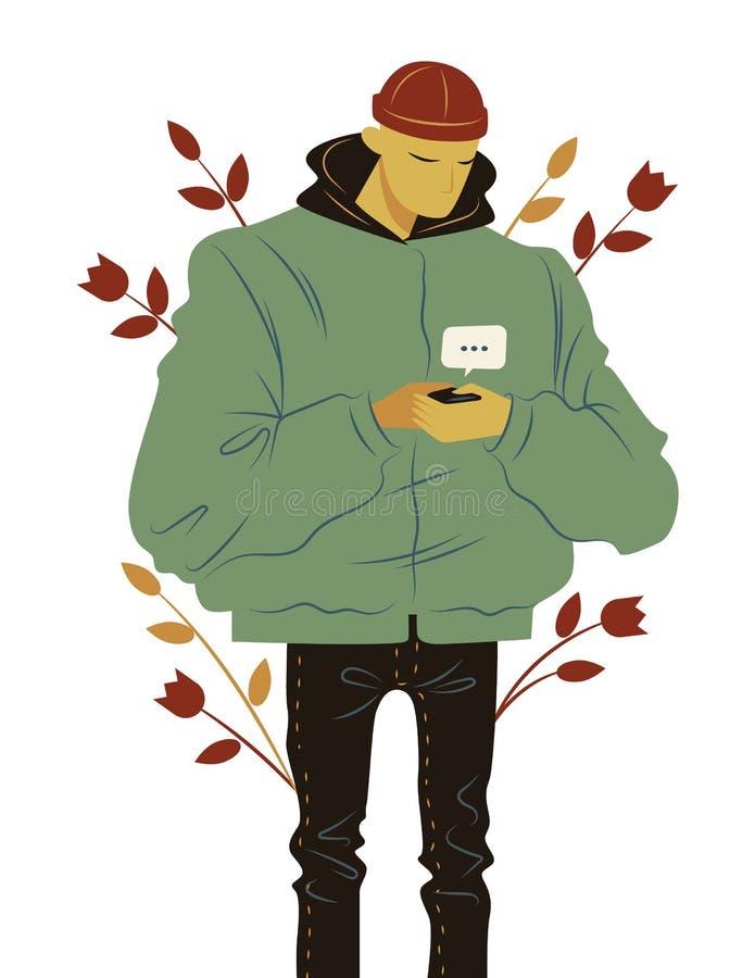 Стиль иллюстрации вектора цвета плоский Стильный парень связывает онлайн используя мобильный телефон Модный современный парень бе иллюстрация штока