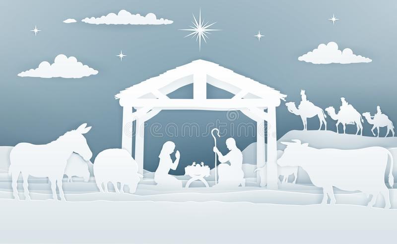 Стиль искусства бумаги сцены рождества рождества иллюстрация вектора