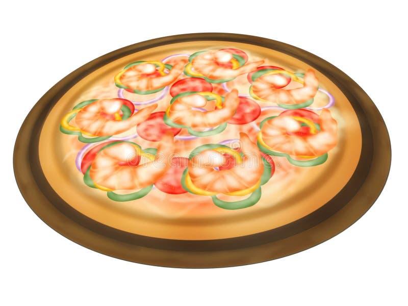 Стиль итальянской кухни, взгляд сверху пиццы покрывая с креветкой и смешанные овощи бесплатная иллюстрация