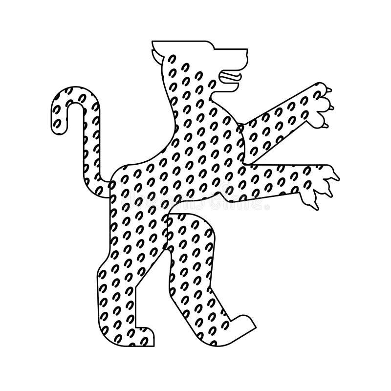 Стиль леопарда Heraldic животный линейный Фантастическое чудовище f зверя иллюстрация штока