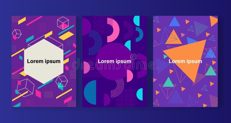 Стиль Мемфиса покрывает набор с геометрическими формами и картинами иллюстрация вектора