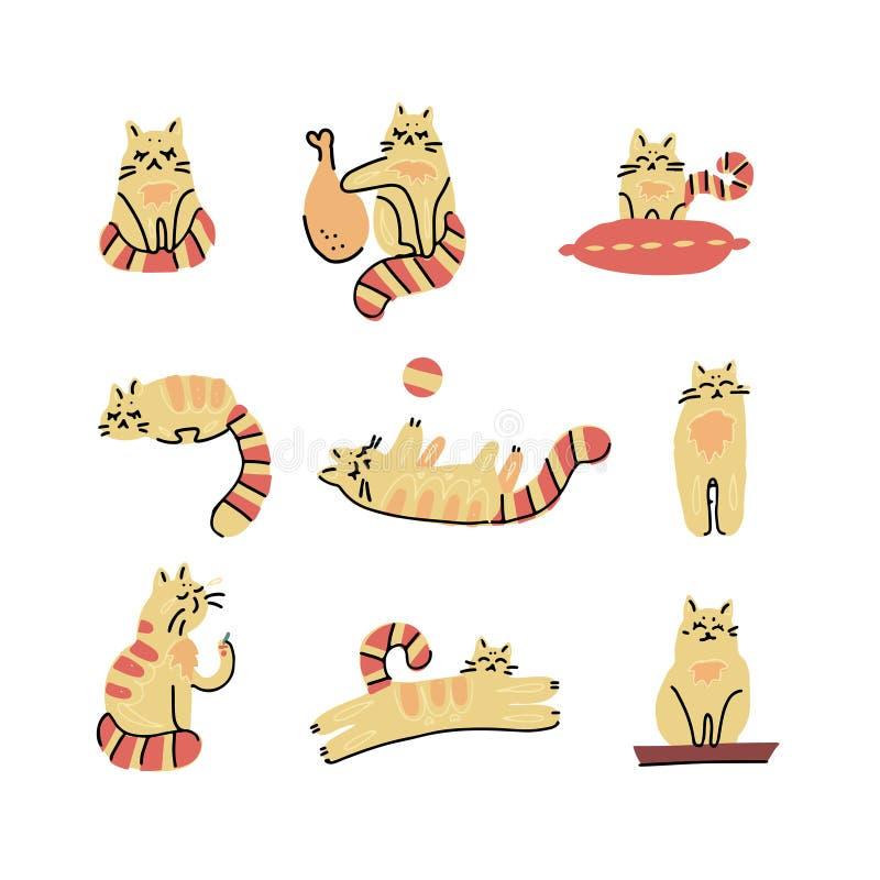 Стиль милой руки мультфильма котов вычерченный, для печати, карта, футболка, иллюстрация вектора знамени скандинавская Установите иллюстрация штока