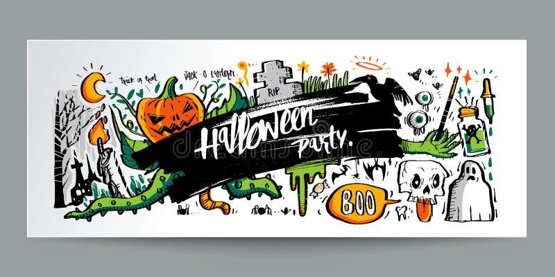 Стиль нарисованный рукой красочный doodle хеллоуин и каллиграфия, столб бесплатная иллюстрация