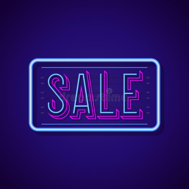 Стиль неонового света знака продажи с красочной яркой рамкой бесплатная иллюстрация