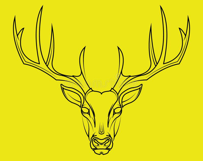 Стиль оленей головной нарисованный рукой на желтой предпосылке иллюстрация вектора