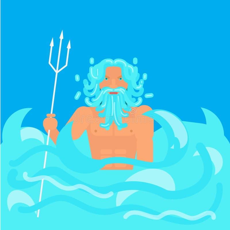 Стиль олимпийского бога плоский иллюстрация вектора